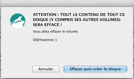 DiskMaker X - suppression du contenu sur la clé