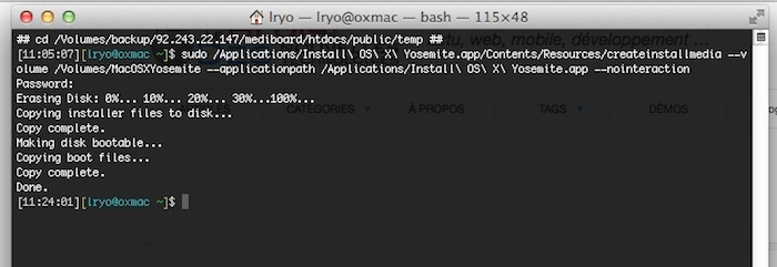 OS X Yosemite - installation sur terminal