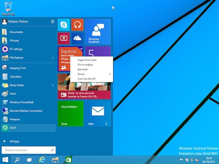 Menu Démarrer Windows 10 : possibilité de faire des actions sur les tuiles