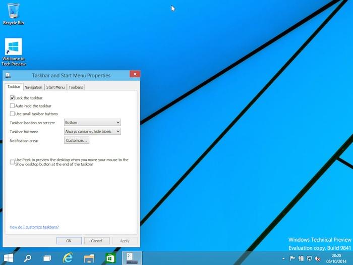 Menu Démarrer Windows 10 : propriétés