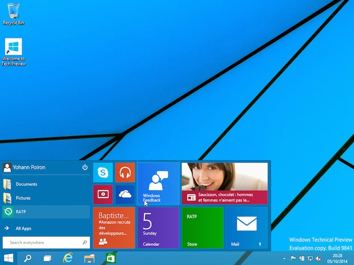 Menu Démarrer Windows 10 : redimensionner le menu