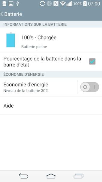 LG G3 : informations sur la batterie