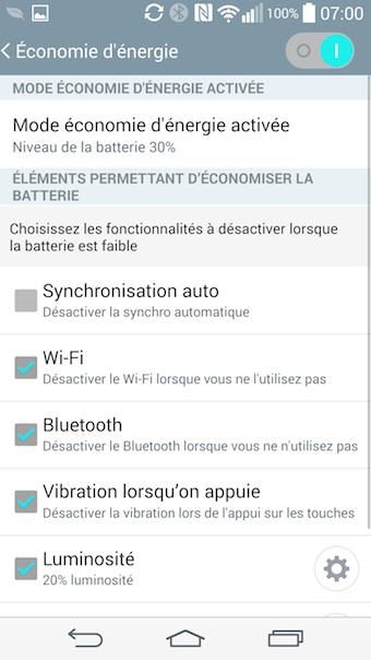 LG G3 : mode économie d'énergie