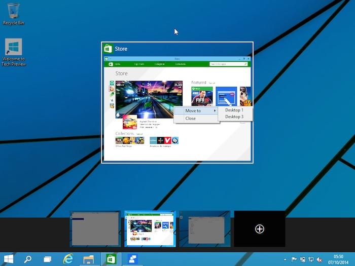 Windows 10 : déplacement d'une application d'un bureau virtuel a un autre