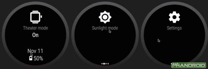 Modes Theatre et Sunlight sur Android Wear Lollipop