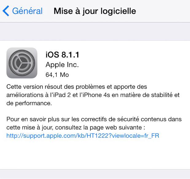 Apple iOS 8.1.1 et OS X 10.10.1 disponibles