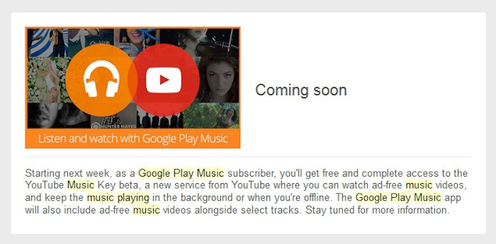 Les abonnées de Google Play Musique recevront YouTube Music Key gratuitement