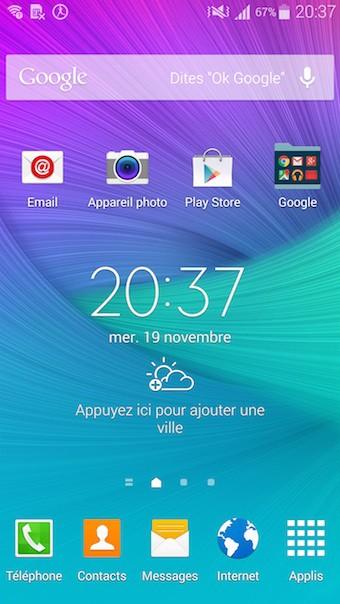 Samsung Galaxy Note 4 : écran d'accueil