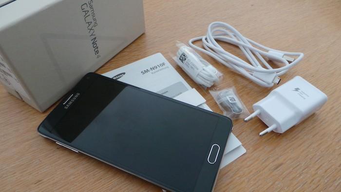Samsung Galaxy Note 4 : contenu de la boîte