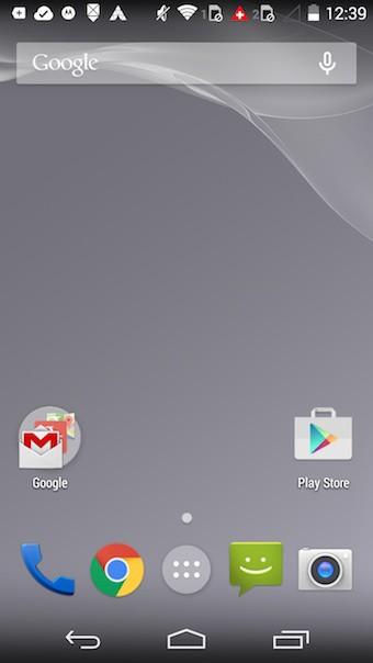 Moto G (2014) : écran d'accueil