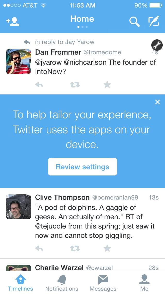 Twitter suit vos apps pour une 'expérience plus personnalisée'