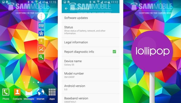 Un Samsung Galaxy S5 sous Android 5.0 Lollipop ça donne ça