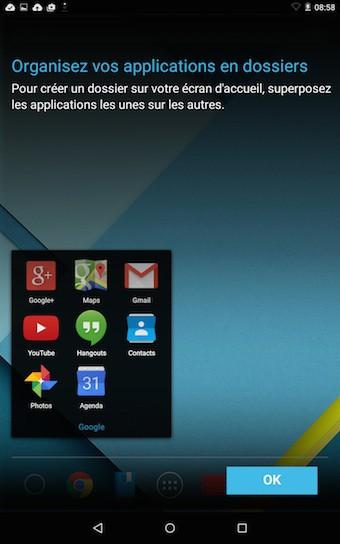Nexus 9 : écran d'accueil