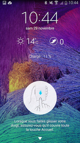 Galaxy Note 4 : écran de déverrouillage