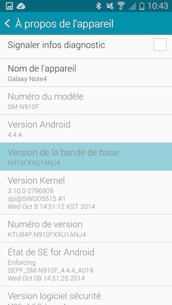 Galaxy Note 4 : à propos de l'appareil