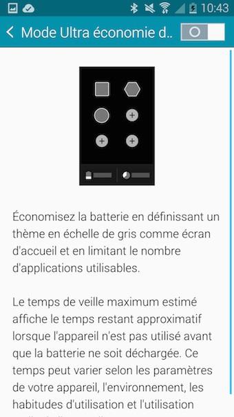 Galaxy Note 4 : mode ultra économie d'énergie