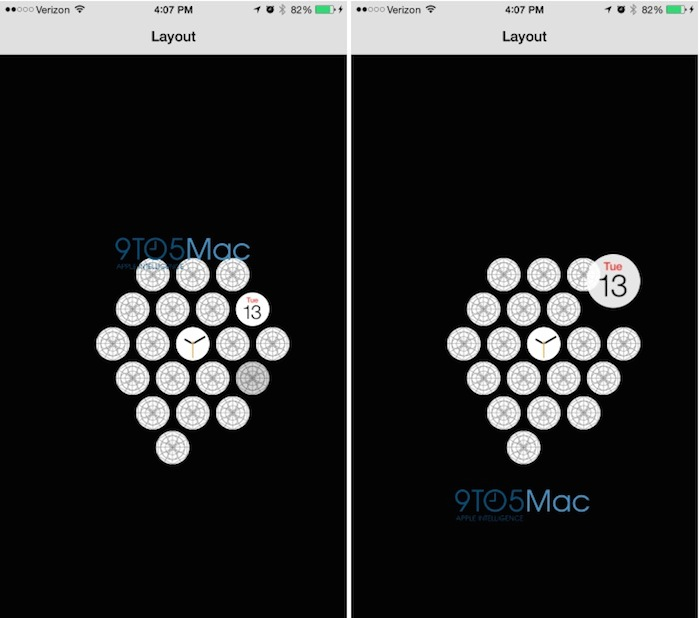Apple Watch app iOS : réorganisation des icônes