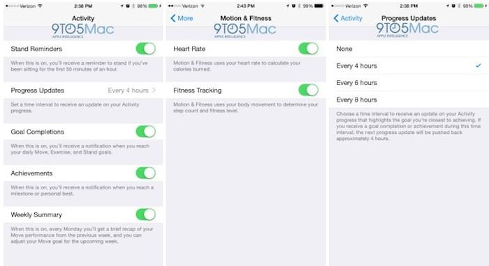 Apple Watch app iOS : santé
