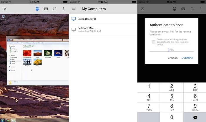 Vue de Google Chrome Remote Desktop sur iOS