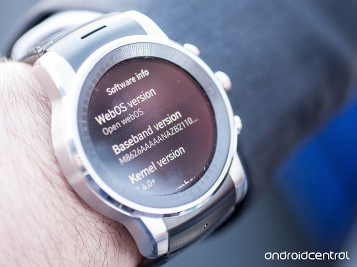 LG G Watch sous webOS : information du logiciel