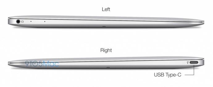 MacBook Air 12 pouces : vue du côté droit et côté gauche