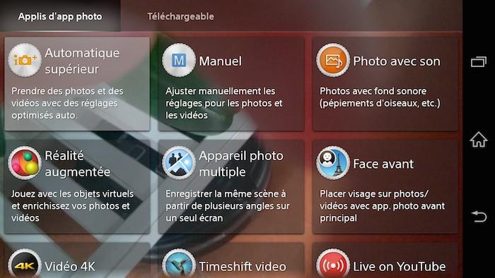 Xperia Z3 : différents modes de la caméra