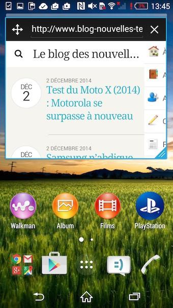 Xperia Z3 : mode fenêtre d'une application