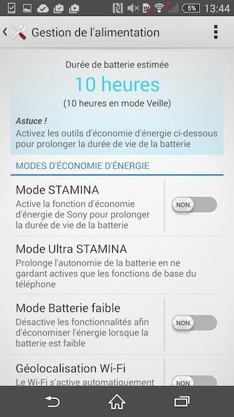 Xperia Z3 : gestion de la batterie