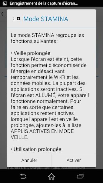 Xperia Z3 : mode STAMINA