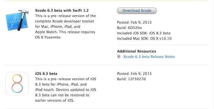iOS 8.3 disponible aux développeurs
