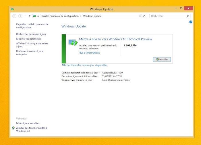 Mettre à niveau vers Windows 10 Technical Preview