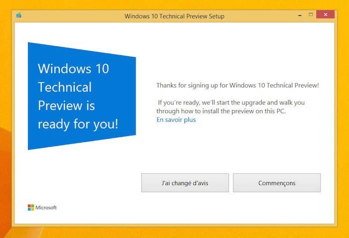 Setup de Windows 10 Technical Preview