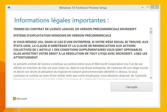 Informations légales importantes de Windows 10 Technical Preview