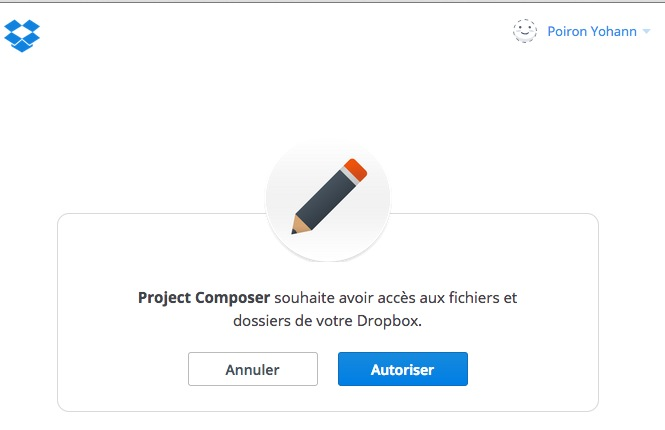 Dropbox Composer : autorisation