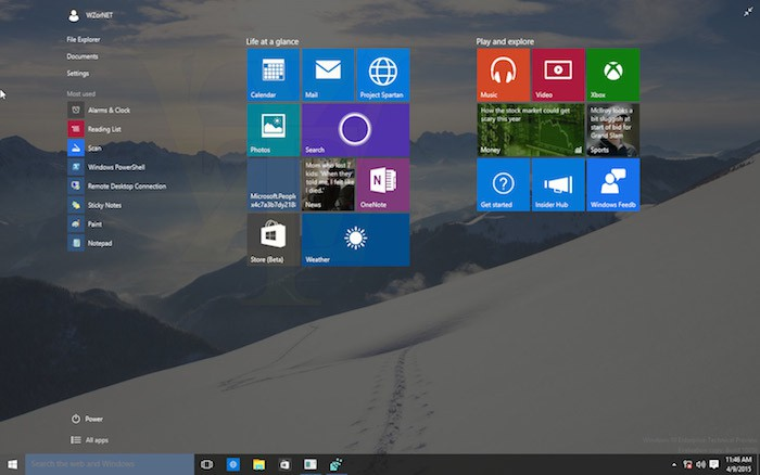 Windows 10 : menu redimensionné