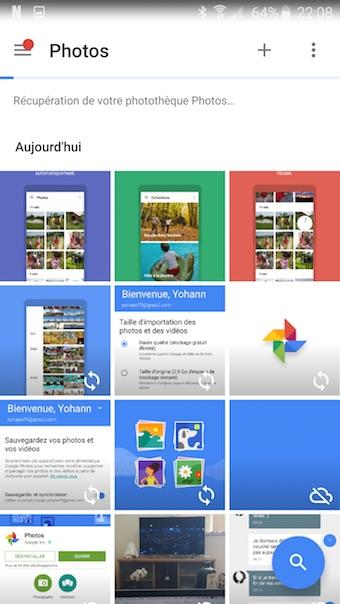 Google Photos : accueil photos