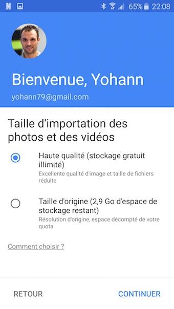 Google Photos : taille d'importation des fichiers