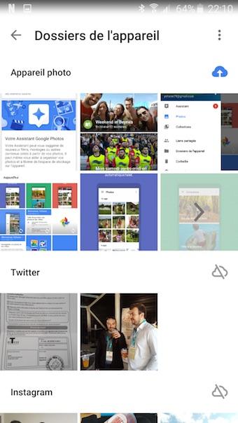 Google Photos : dossiers de l'appareil