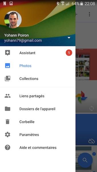 Google Photos : menu latérale