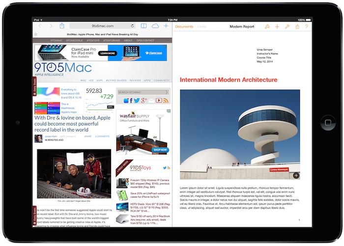 iOS 9 : le support du multitâche grâce au mode multi-fenêtre