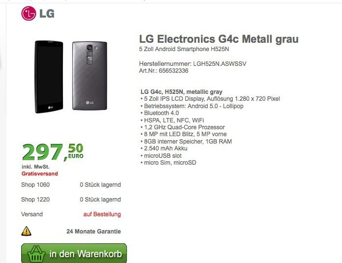 LG G4c : un modèle moins cher du LG G4
