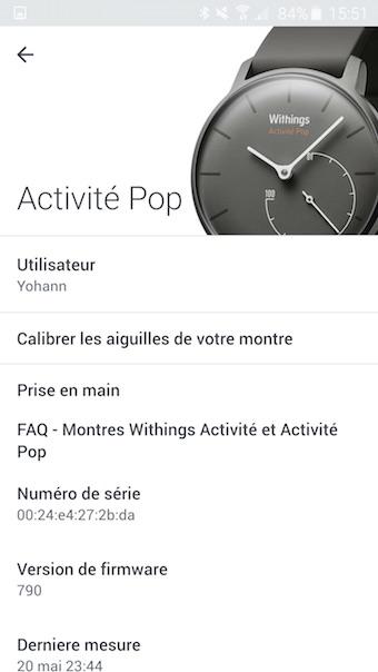 Withings Activité Pop : configuration