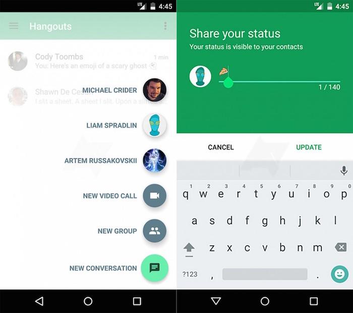 Google Hangouts 4.0 : partage du statut