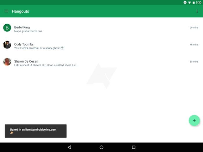 Google Hangouts 4.0 : version tablette