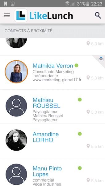 LikeLunch : contacts à proximité