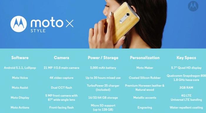 Moto X Style : spécifications