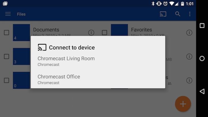 Le support du Chromecast pour OneDrive sur Android arrive