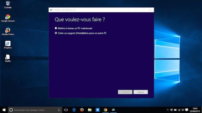 Windows 10 : outil de création de médias