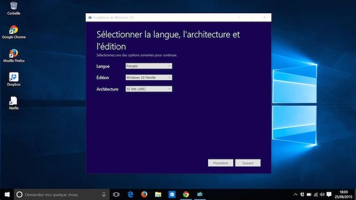 Windows 10 : choix de la langue et version