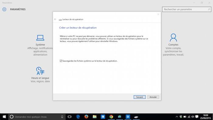 Windows 10 : sauvegarde des fichiers système